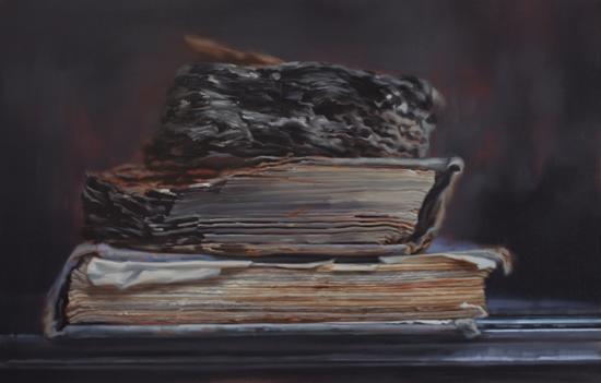 劫后余生 (清华大学图书馆抗日战火中幸存书籍#2)2017。 Oil on Linen 亚麻布油彩 (122 x 188 cm)