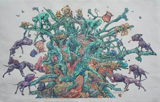 孟涛《六方迷局》 83x54cm,版画纸、圆珠笔、水彩,2018年