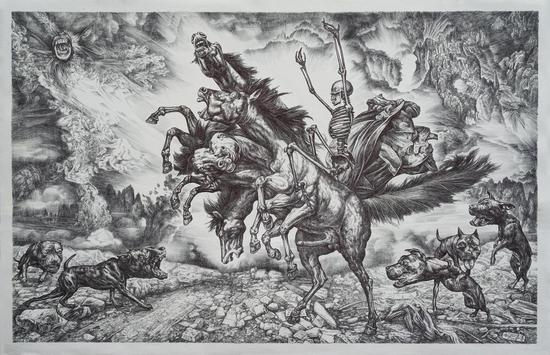 孟涛《贪欲之马》83x54cm,版画纸,圆珠笔, 2018年