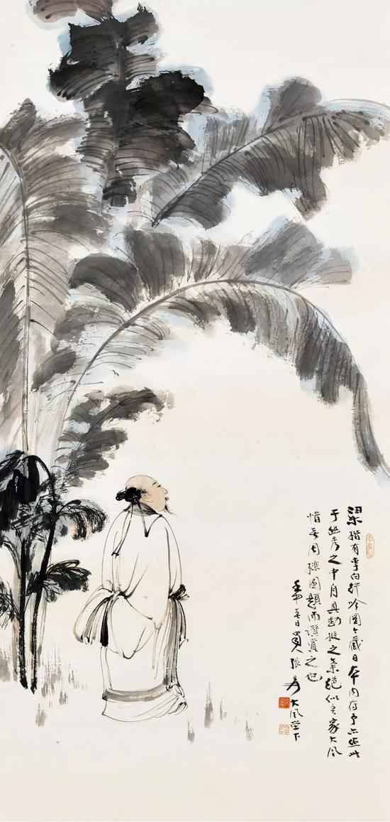 Lot 215   张大千(1899-1983) 李白行吟   立轴 设色纸本   壬申(1932年)作