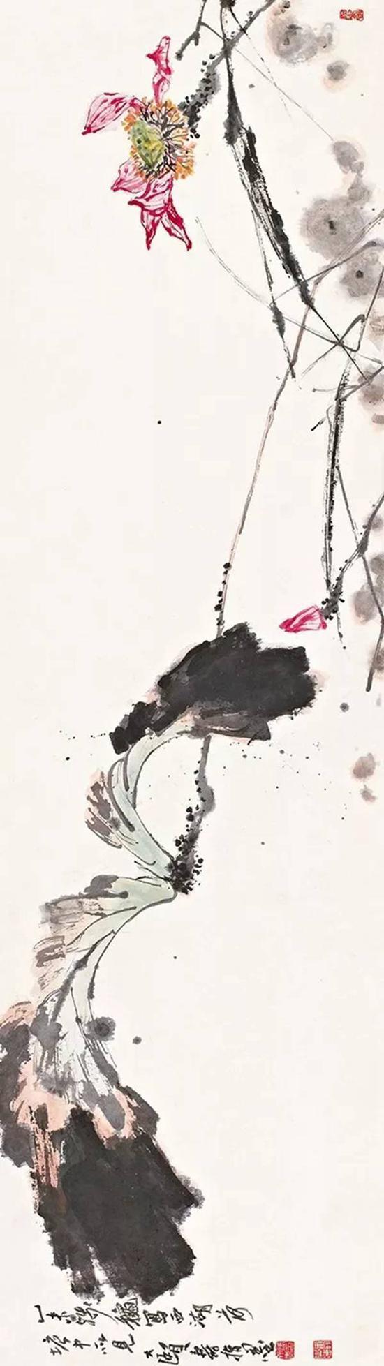 11秋诚轩编号479拍品潘天寿指画《西湖荷塘》,5.5平尺以1207.5万元成交,同样是指画,尺寸也差不多。