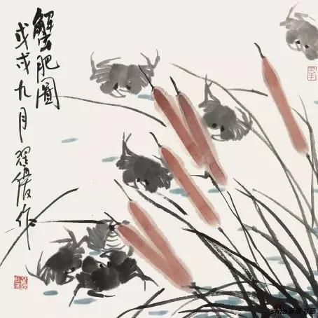 《蟹肥图》70cm×70cm