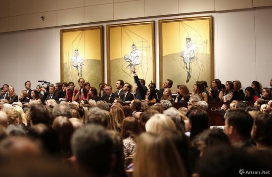 2013年纽约佳士得秋拍中,弗朗西斯·培根的《卢西恩·弗洛伊德肖像画习作》以1.42亿美元成交,标志着战后艺术进入最高潮