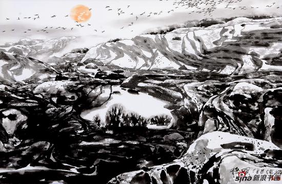 《静观之二》 (布本、水墨、丙烯,2013年)