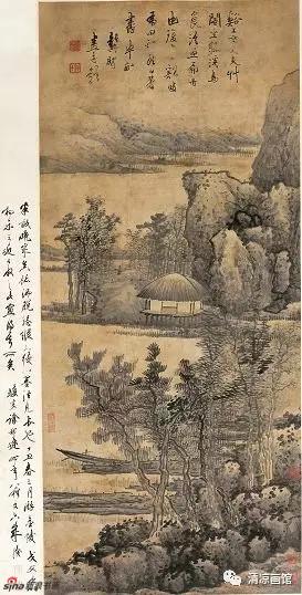 溪山草阁图轴