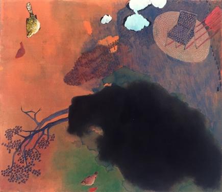 《日落游戏》综合材料、纸本,56 x 56 cm,2017