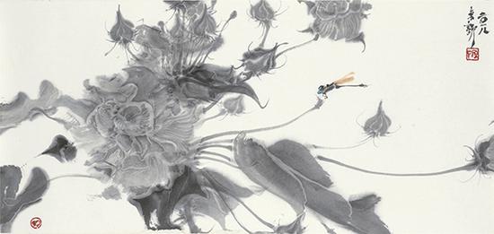 周京新 芙蓉之三 32×68.5cm 纸本设色 2018