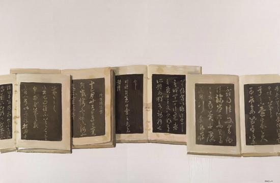 陈丹青《淳化阁帖组曲》 92x138cm 布面油画 2014