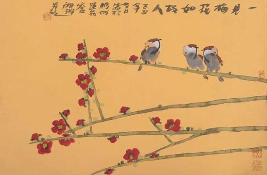 作品名称:《一见梅花如故人》   尺寸:45X69 cm   材质:纸本水墨