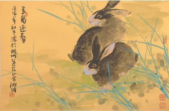 作品名称:《玉兔迎春》   尺寸:45X69 cm   材质:纸本水墨