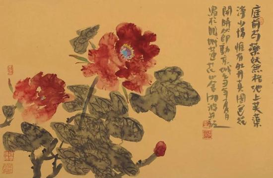 作品名称:《芍药》   尺寸:45X69 cm   材质:纸本水墨