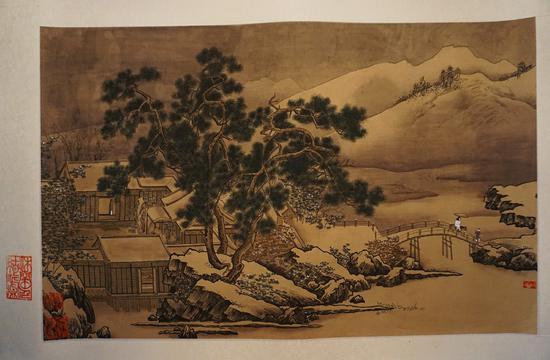 《四景山水图卷》之冬景