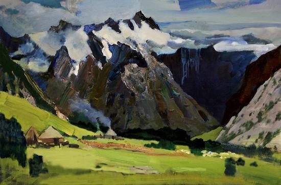 3《新疆·奥依塔克雪山下》杨松林 100cm×150cm 布面油画 2017年