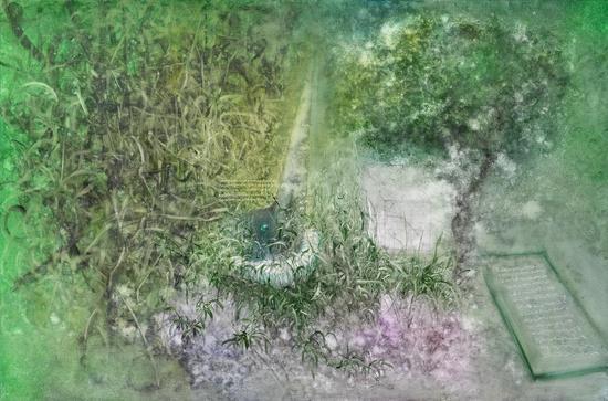 李瑞《月光下的窃语》布面油画150x100cm 2018s