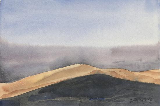 《夕阳》2012年28.1x18.5cm,水彩171-63