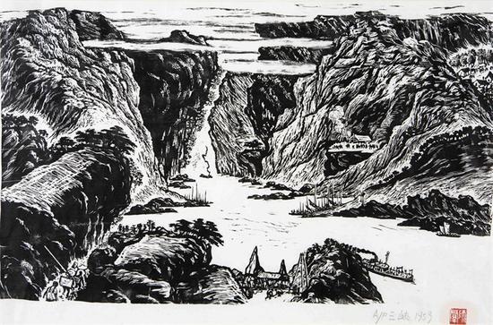 25。师群《三峡》黑白木刻 35cm×58cm 1959年 湖北美术馆藏