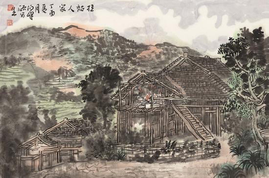 范硕 拉祜人家 34cm×68.5cm 纸本设色 2017年