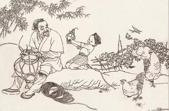 《 灯花》之一,1980年,首部单行本连环画创作 ,获江苏省连环画评奖一等奖