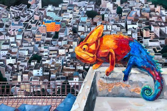 刘虓虓《迷城》120×180cm,布面油画,2017年