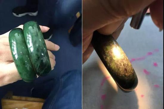 附图(普通碧玉手镯与含大量角闪石矿物的手镯对比)