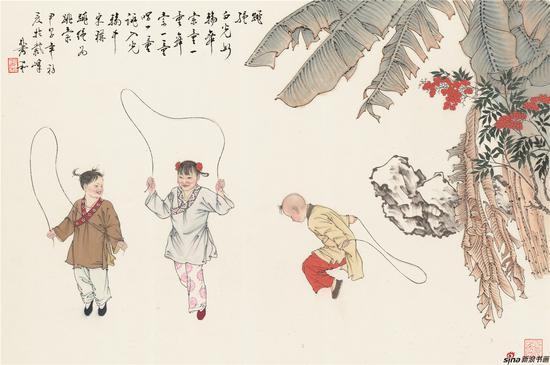 童戏图-跳绳