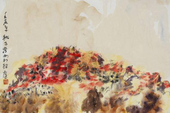 王清州作品 《布达拉宫写生系列之一》45x68cm 纸本水墨 2012