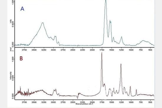 光谱分析是相当重要的测试之一。A为玳瑁;B为塑料