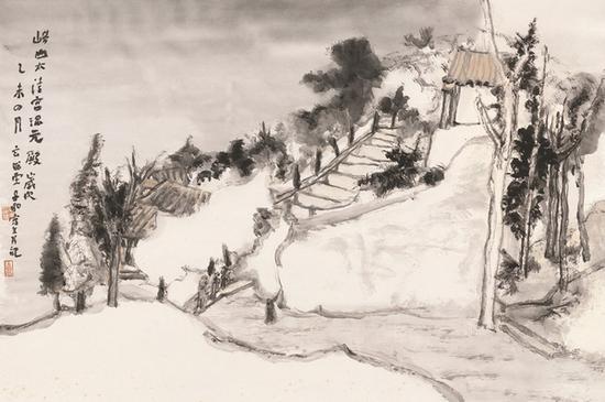 周松 太清宫混元殿 46cm×69cm 纸本水墨 2015年