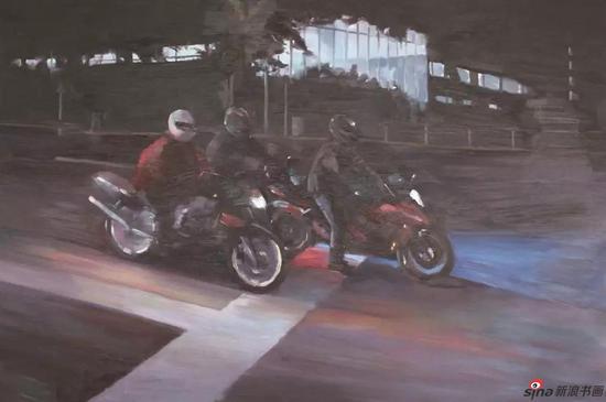 《夜·行》100×150cm 油画