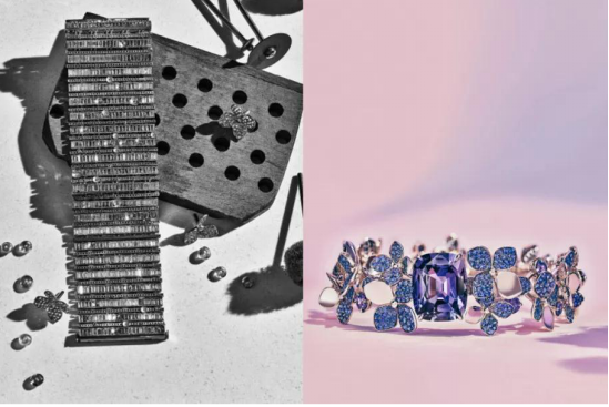 铂金镶嵌主石超 5 克拉天然枕形切割帕帕拉恰蓝宝石