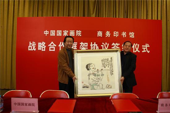 为了庆祝商务印书馆创立120周年,杨晓阳院长精心创作了一幅画赠送给商务印书馆。