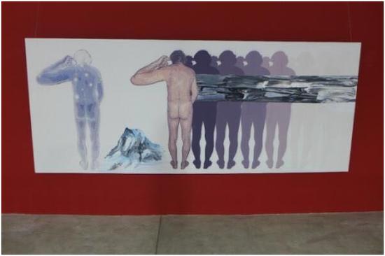 《幻觉的峡谷》布面丙烯,368x150cm,2018年