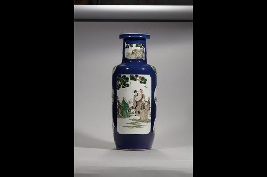 霁蓝人物开光人物棒槌瓶