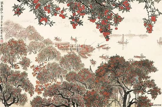 徐孅,洞庭桔红,1977,46×69cm,纸本水墨设色,中国画