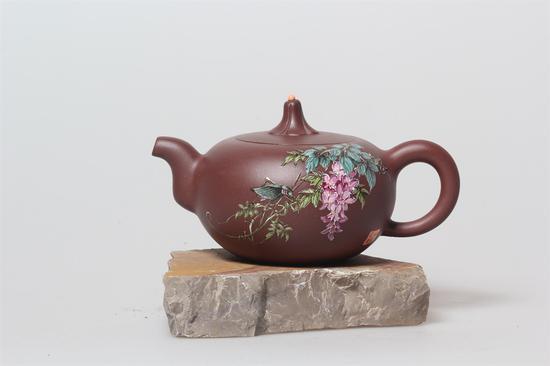 艺术家朱永良 金瓜壶 泥料:底槽清 年代:2000 容量:280 CC