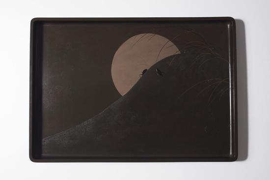 江户或明治时代莳绘月下秋兴图长方盘款 是真