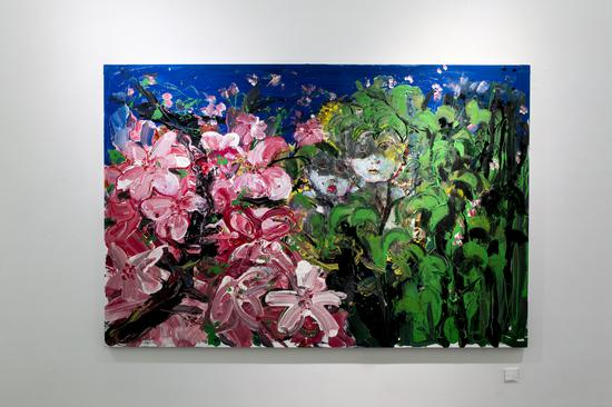 淖中花 — 大桃花 Flowers out of the slough - Peach blosson 布面油画 Oil on canvas 200 x 300cm 2018
