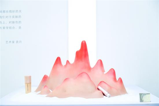 袁丹 《肤之冥想》 60cm x 60cm 2018 自然堂冰肌粉底液,炫彩盈润高显色唇膏,树脂