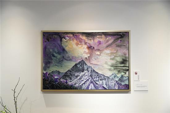 张剑《圣山之夜》60cmx90cm 2018年 油画 布面丙烯