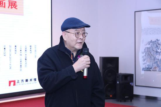 中国画创作研究院院长龙瑞先生宣布展览开幕