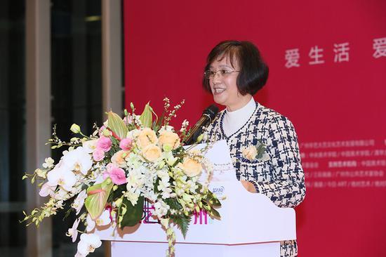 第八届大艺博(广州)首席赞助商蓝月亮(中国)有限公司副总经理徐玉玲致辞
