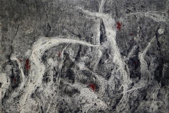 冯放 惊蛰 09(Jingzhe 09) 年代:2014 尺寸:244_610cm 材料:综合材料