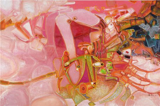 刘国义 吹风的心情 180x160cm 油画 2017年
