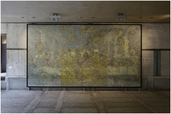 《CMYK-文艺复兴》杨冕 / 布面丙烯、透明树脂 / 240x110cm / 2015
