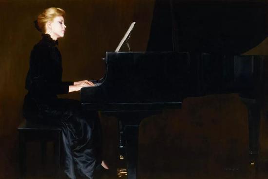 陈逸飞 夜莺之声  1980年代  布面 油画  130×202 cm 成交价:RMB 20,700,000