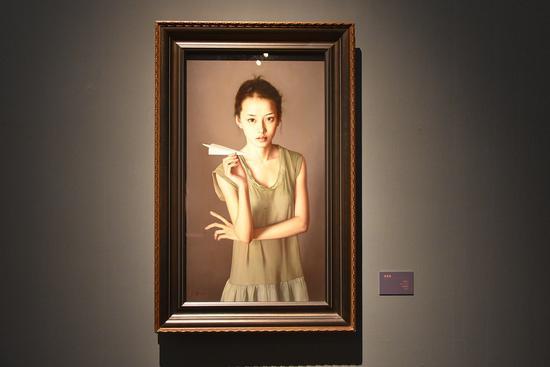 《随风》布面油画98x55cm2009年