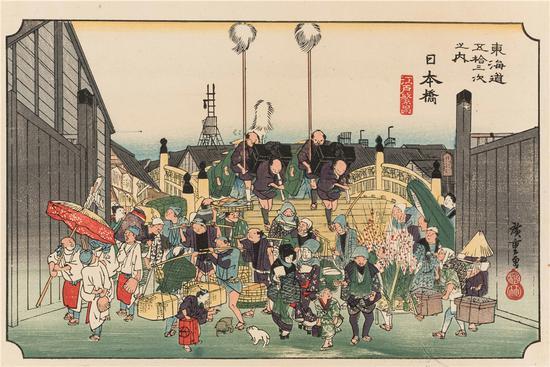 歌川广重-《东海道五十三次之日本桥》-1835年