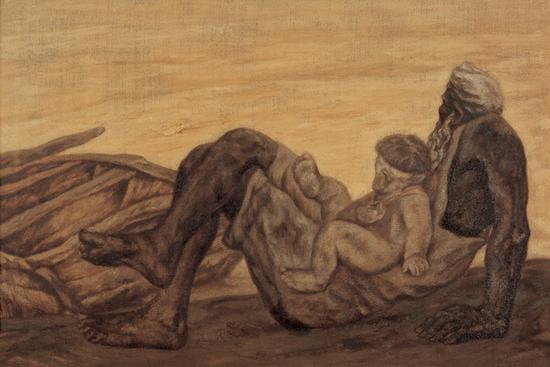 20。尚扬《爷爷的河》布面油画115cm×175cm1984年中国美术馆藏