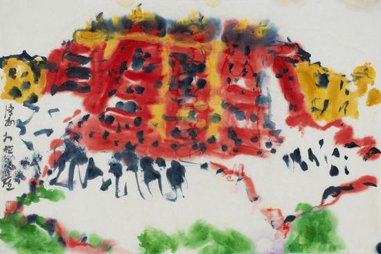 王清州作品 《布达拉宫写生系列之二》45x68cm 纸本水墨 2012