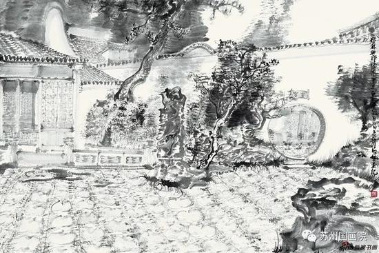 周京新 网师园写生 89cm×59cm